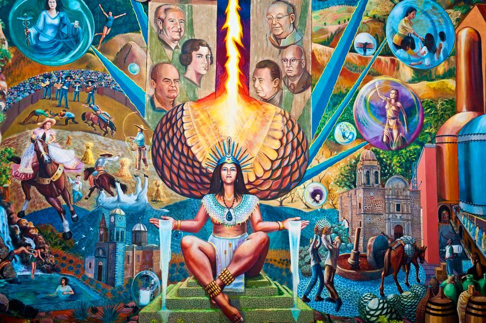 Mural alusivo a la Leyenda de Mayahuel en la Presidencia Municipal de Tequila, Jal.